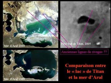 Comparaison lac de Titan / Mer d'Aral