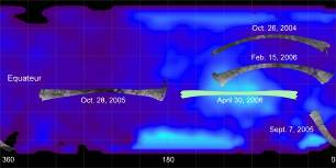 Carte des 5 survols radar effectués à ce jour (mai 2006)