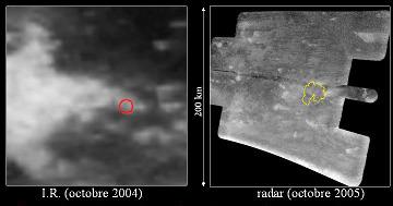 Site d'atterrissage de Huygens: image IR la plus précise de la région et première image radar (à droite)