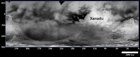 Carte de Titan montrant la localisation de la région nommée Xanadu