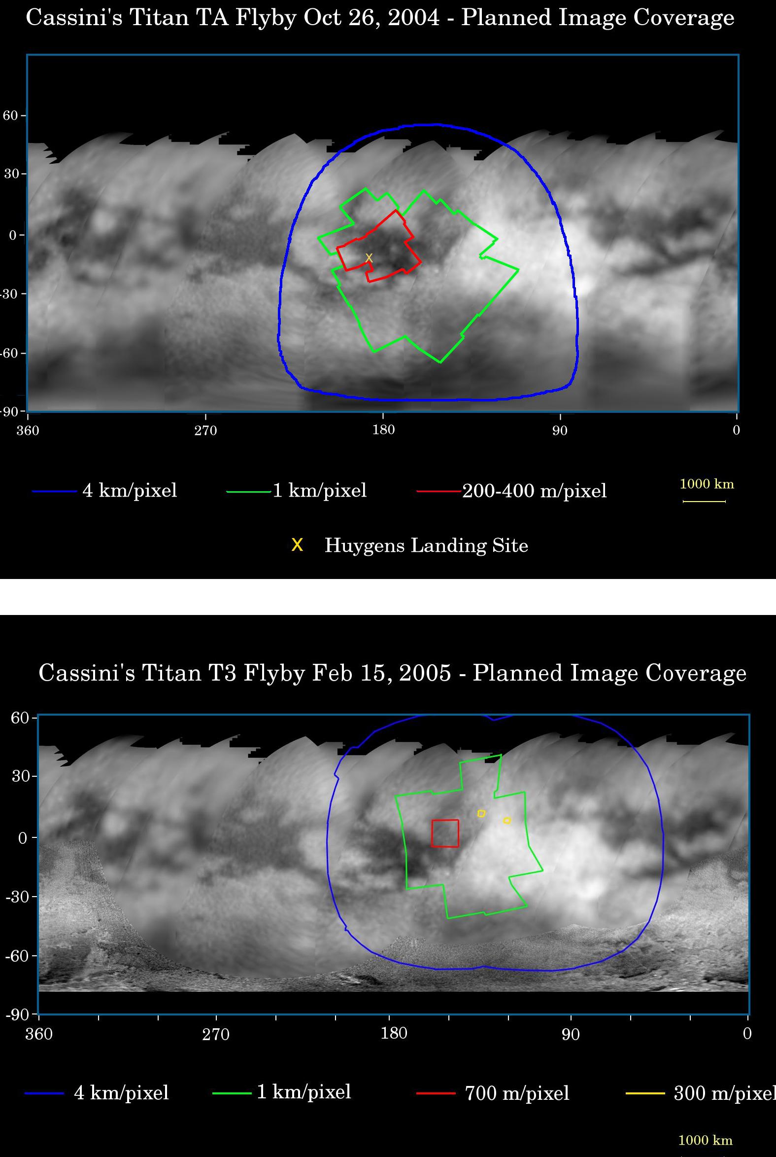 Localisation et résolution des zones imagées sur Titan en octobre 2004 et en février 2005