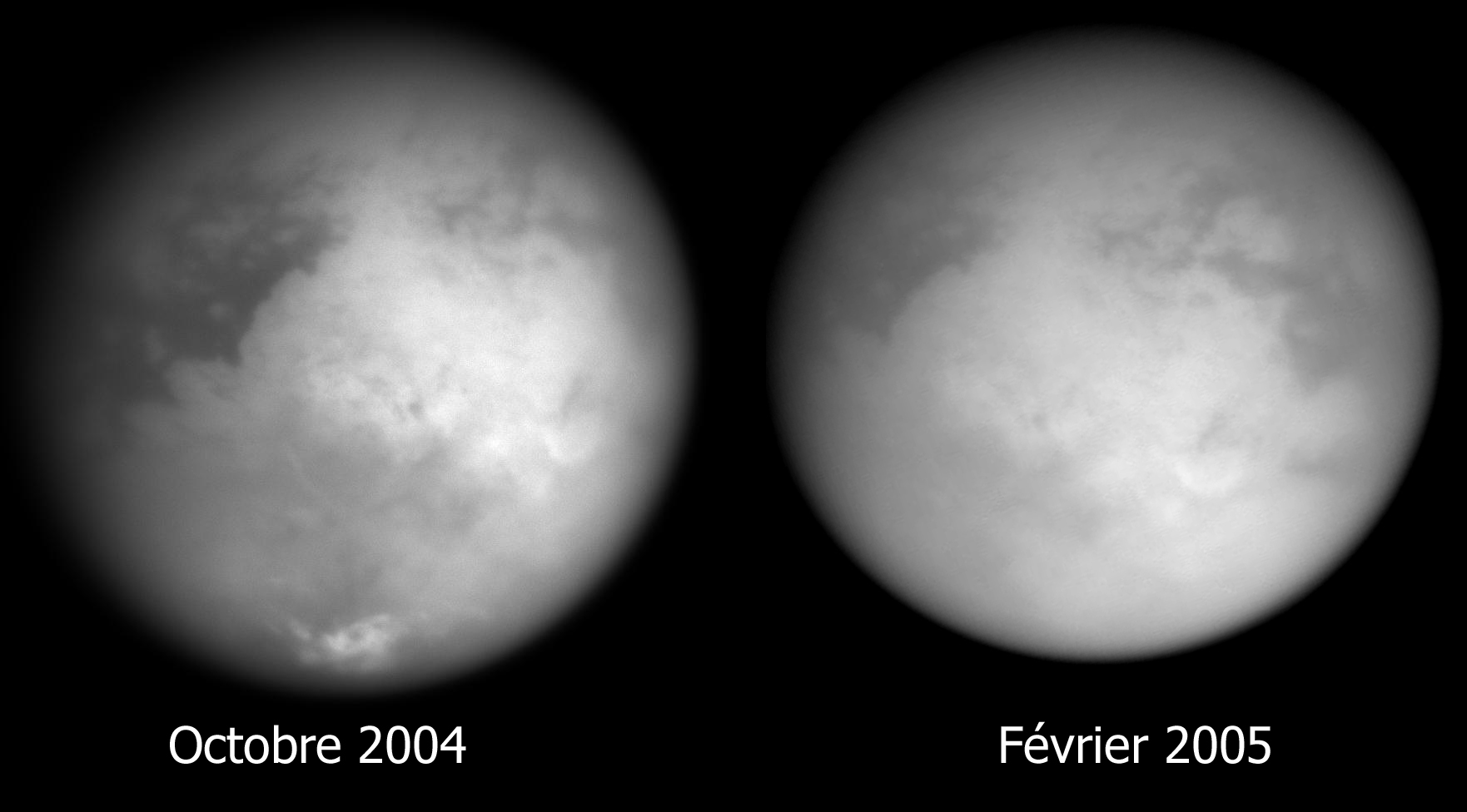 Comparaison des vues générales de Titan: octobre 2004 / février 2005