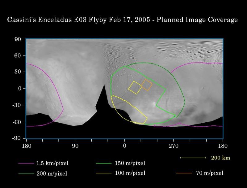 Localisation et résolution des images prise lors du survol d'Encelade le 17 février 2005