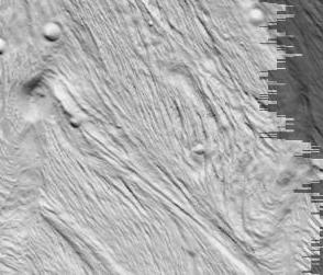 Figure d'écoulement visqueux sur Encelade