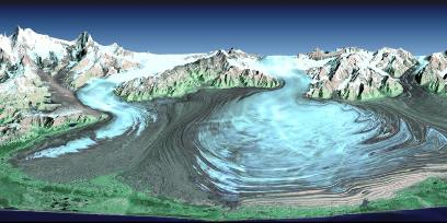 Vue satellitale oblique du glacier Malaspina en Alaska
