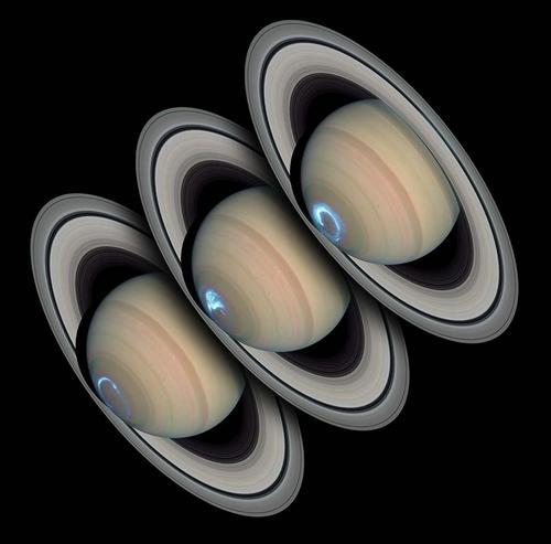 Saturne, superposition d'images en UV et d'images en lumière visible