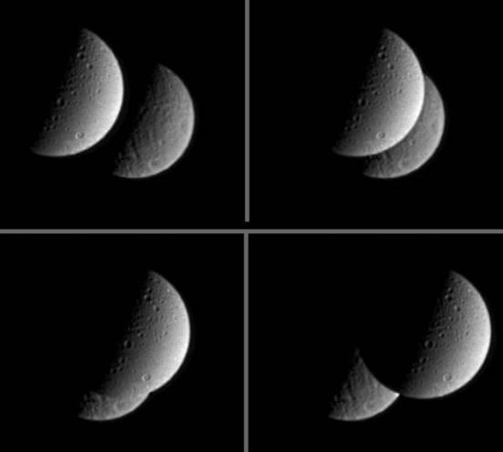 Une éclipse de Rhéa (arrière plan) par Dioné (premier plan) le 20 février 2005