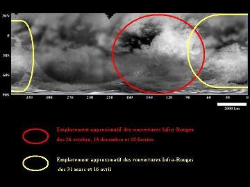 Position approximative des couvertures IR de 5 passages rapprochés au-dessus de Titan