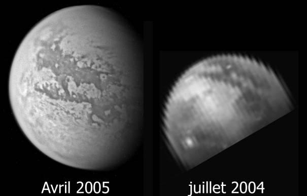 Comparaison des vues de Titan de juillet 2004 et avril 2005 du même secteur
