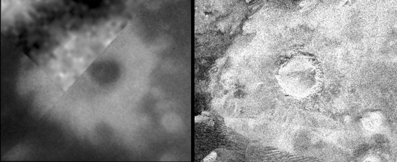 Comparaison image IR (gauche) / image radar (droite) d'un cratère de météorite sur Titan