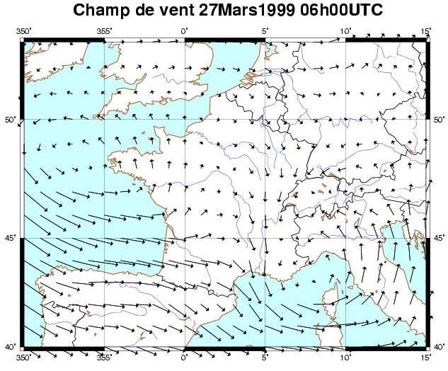 Carte des vents prédits par le modèle de l'ECMWF