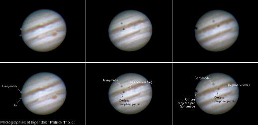 Transit de 2 satellites de Jupiter (Io et Ganymède) et de leurs ombres, projetées sur la planète, le 23 mars 2016