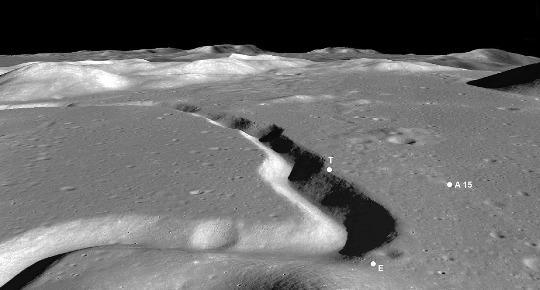 Vue oblique du site d'atterrissage lunaire d'Apollo15