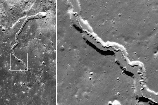 Deux zooms sur des tunnels lunaires effondré emboités: la Vallée de Schröter (Vallis Schröteri)