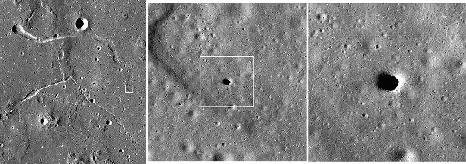 Zooms successifs sur deux tunnels partiellement effondrés dans la région des Collines de Marius, dans l'Océan des Tempêtes (Oceanus Procellarum)