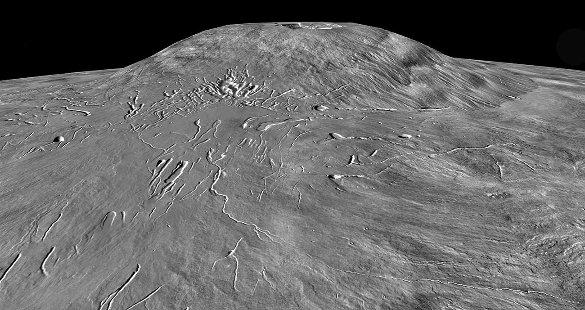 Ascraeus Mons, 15km de haut, 400km de diamètre, un des trois volcans martiens géants des Tharsis Montes