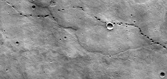 """""""Chapelet"""" martien de puits dessinant une ligne sinueuse de 18km de gauche à droite de l'image précédente"""