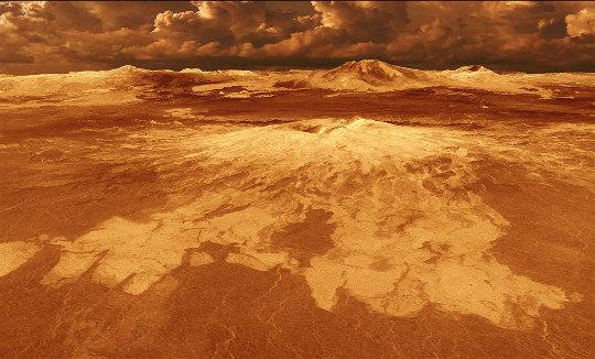 Un exemple de volcan bouclier vénusien: Sapas Mons, 400km de diamètre pour 1,5km de hauteur (les hauteurs ont été multipliées par 10)