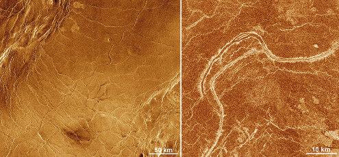 Chenaux creusés par l'érosion thermique du substratum par une lave hyper-chaude sur Vénus