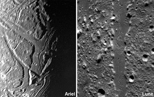 Possible tunnel effondré sur Ariel, satellite de glace d'Uranus, et sillon sinueux lunaire