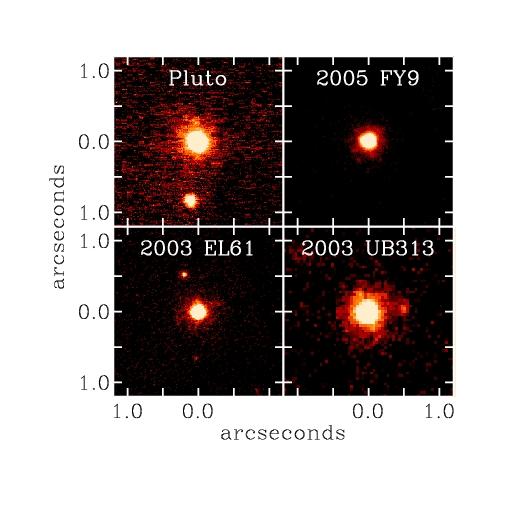 Les 4 plus gros objets de Kuiper, images obtenues avec une optique adaptative