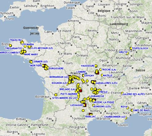 Anciens sites miniers produisant de l'uranium en France, aujourd'hui sous surveillance de l'IRSN