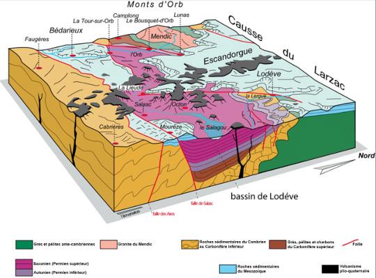 Bloc diagramme du bassin de Lodève (Hérault)