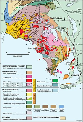 Carte géologique de surface des environs du cratère Gawler (Australie) avec localisation d'Olympic Dam