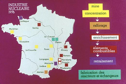 Carte de l'industrie nucléaire française en 1976