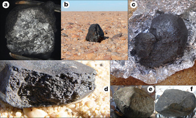 Différents fragments des météorites Almahata Sitta récupérés par les équipes d'exploration