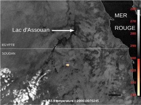 Augmentation de température liée à l'explosion de l'astéroïde 2008 TC3 dans l'atmosphère