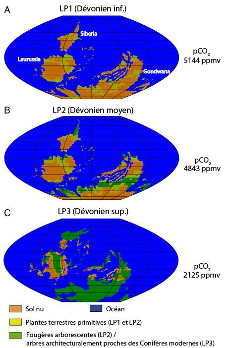 Répartitions potentielles de la végétation à trois périodes du Dévonien, calculées par le modèle de G. Le Hir et al.