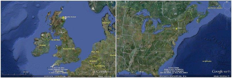Positionnement géographique des sites fossilifères de Rhynie et de Gilboa