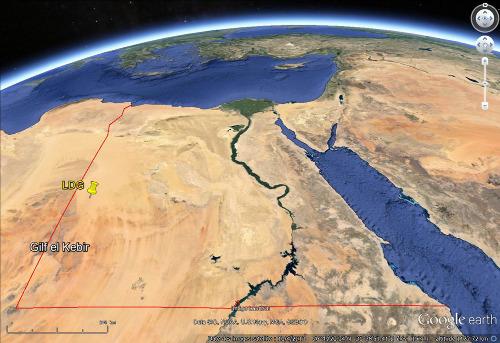 Localisation des affleurements de LDG dans le désert libyque