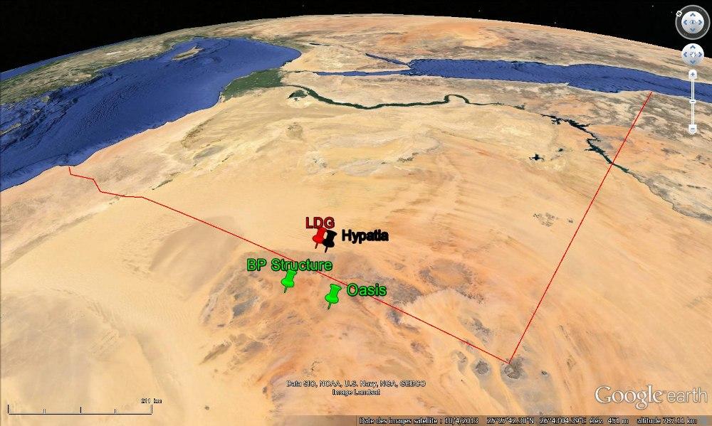 Localisation de la zone la plus riche en LDG (en rouge), du point où a été trouvé Hypatia (en noir) et des deux cratères avérés de la région (en vert), cratères (Oasis et BP Structure) sans lien probable avec le verre libyque
