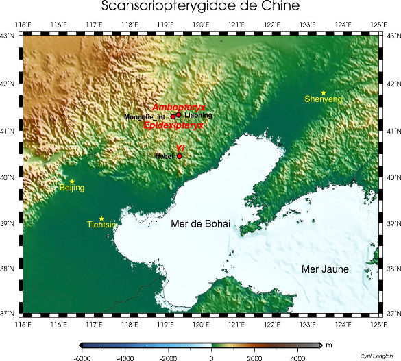 Localisation (approximative) des sites chinois où ont été découverts les fossiles de dinosaures à plumes et à patagium