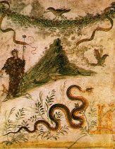 Peinture d'une villa à Pompéi montrant l'allure du volcan avant l'éruption de 79.