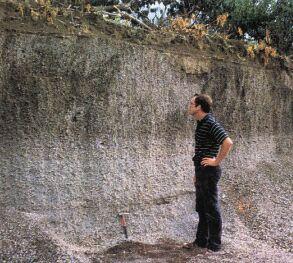 Dépôts Pliniens clairs et foncés de l'éruption de 79 près de Stabiae