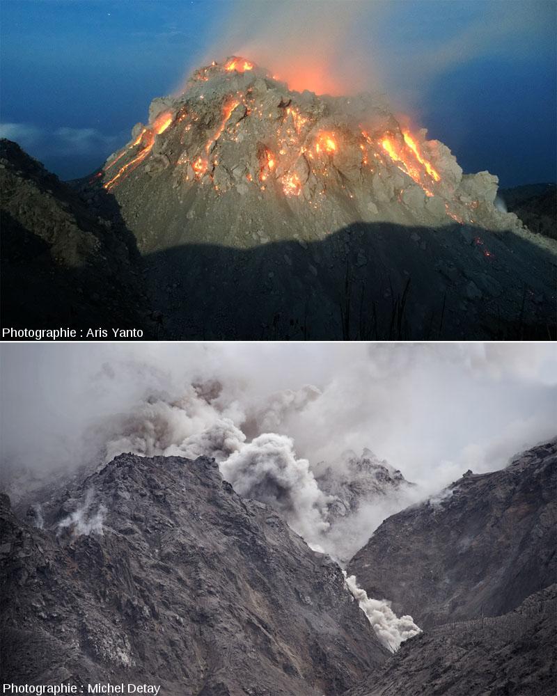 Le dôme du Paluweh (Rerombola) en cours de croissance (en haut) et en train d'émettre un courant de densité pyroclastiques (CDP) qui dévale une vallée (en bas)