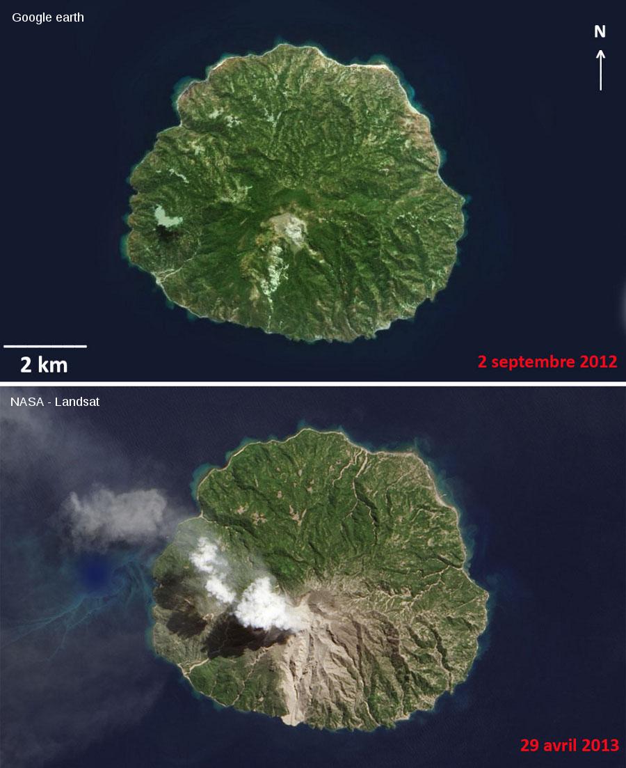 L'île de Palu'e vue de satellite avant (septembre 2012) et pendant (avril 2013) l'éruption
