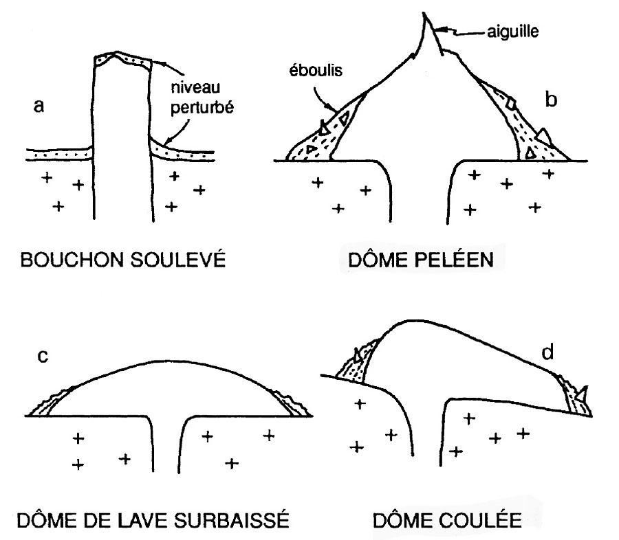 Coupe de quatre grands types géomorphologiques de dômes