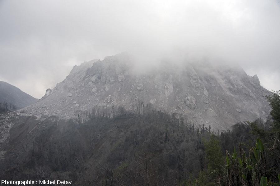 Le dôme du Paluweh (Indonésie), deux mois et demi plus tard, le 22 février 2013, photographié approximativement du même endroit que pour la figure précédente (côté NO)