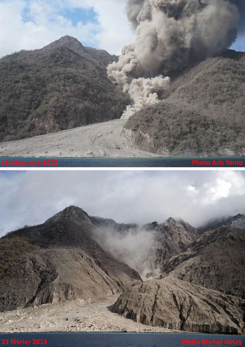 Le néo-delta photographié à 2 mois d'intervalle (16 novembre 2012 – 21 février 2013) et les dégâts occasionnés latéralement à la végétation