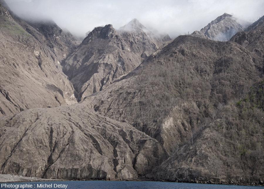 Vue d'ensemble sur les collines à l'Est du delta et de la vallée par où progressent les CDP issus du Paluweh, variations dans la destruction de la forêt