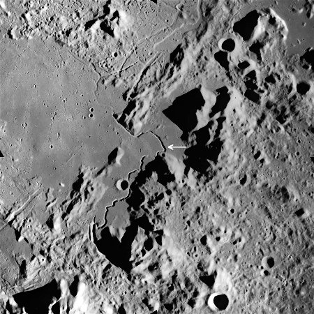 Le sillon Hadley, sur la Lune, au bord de la mer des Pluies (Mare Imbrium)