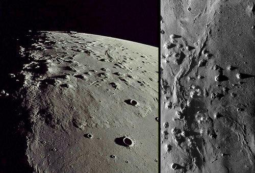 Les collines de Marius, possibles dômes volcaniques lunaires (faits de laves différenciées?) dans l'Océan des Tempêtes (Oceanus Procellarum) en vue rasante à gauche, et en vue verticale à droite