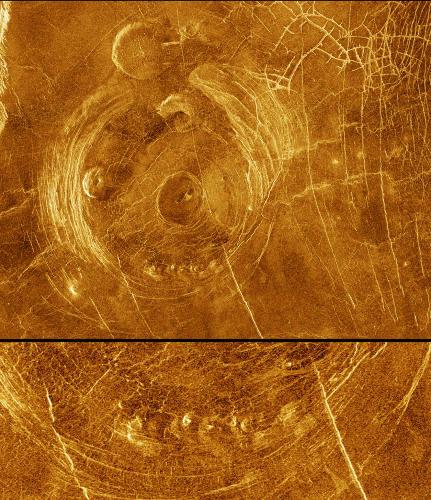 Une corona, morphologie volcano-tectonique exclusive de Vénus