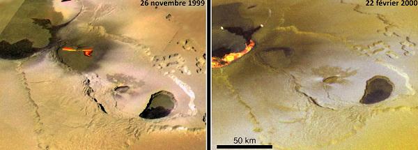 Coulées et fontaines de lave sur Io