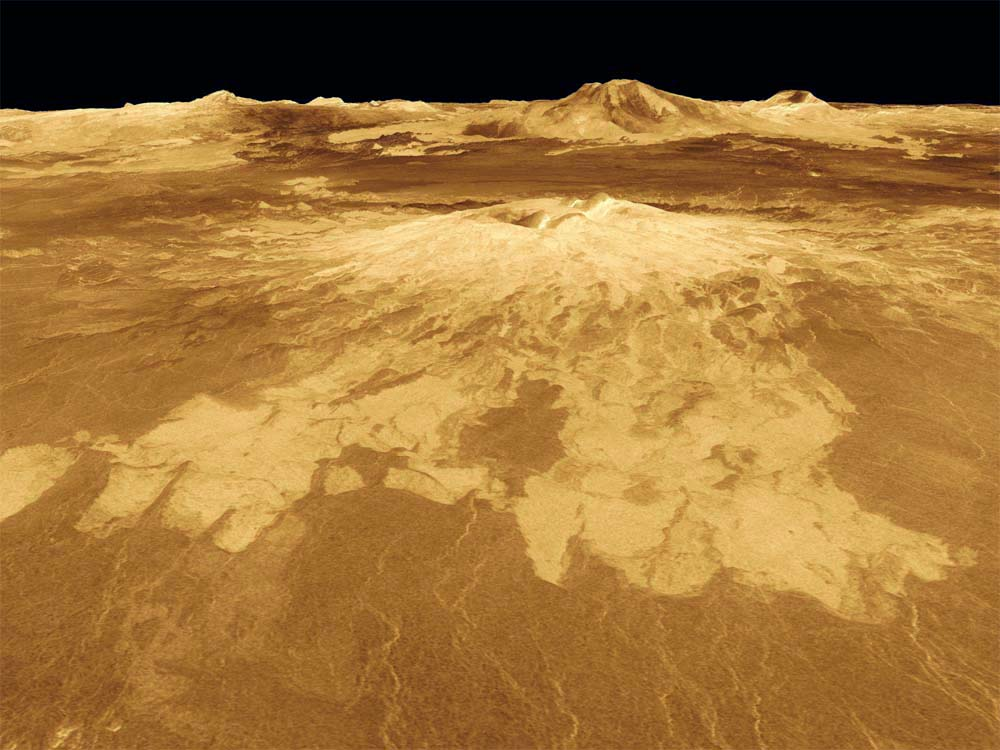 Le volcan Sapas Mons, sur Vénus, vu en relief
