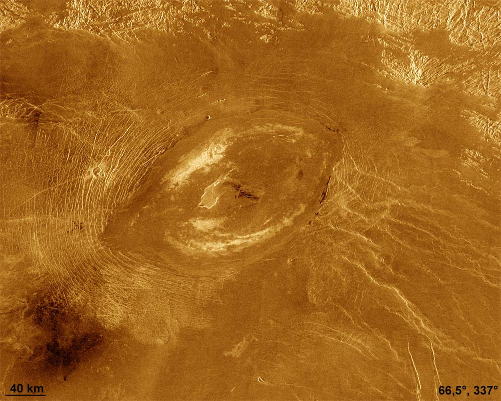 Exemple typique d'une caldeira sur Vénus